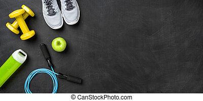 uitrusting, kopie, achtergrond, fitness, donker, ruimte