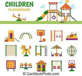 uitrusting, speelplaats, kinderen