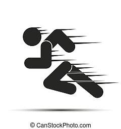 uitvoeren, mensen, eenvoudig, symbool, motion., vrijstaand, achtergrond., rennende , witte