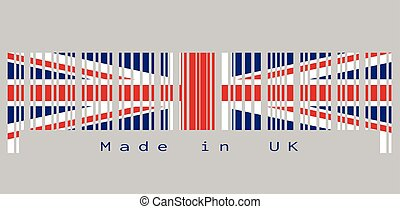 uk., vlag, text:, dommekracht, gemaakt, kleur, unie, uk, set, streepjescode