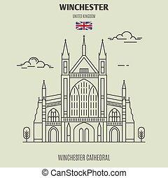 uk., winchester, oriëntatiepunt, pictogram, kathedraal