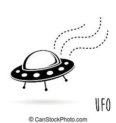 (unidentified, ufo, vliegen, object)., illustratie, vector, schotel