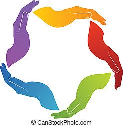 unie, handen, teamwork, logo