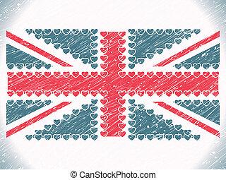 unie, hartjes, vlag, grunge, dommekracht