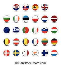 unie, land, set, vlaggen, europeaan