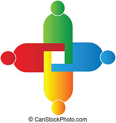 unie, logo, vector, teamwork