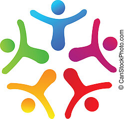 unie, mensen, logo, vector