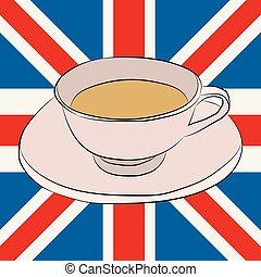 unie, thee, vlag, dommekracht, kop