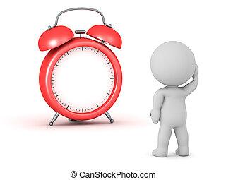 uren, nee, karakter, 3d, klok