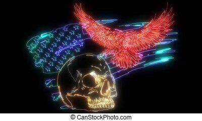usa., eagle., symbool, vlag, video, nationale