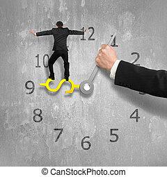 usd, klok, muur, illustratie, hand, beton, achtergrond, het in evenwicht brengen, een ander, vasthouden, man, 3d