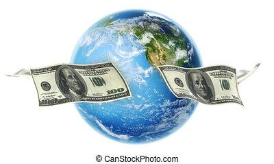 usd, ongeveer, aarde, (loop), witte , rekeningen