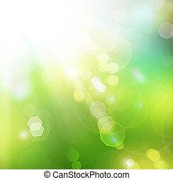 vaag, zonnig, achtergrond, bokeh., lente, natuur, mooi