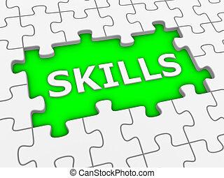 vaardigheden, raadsel, word., -, witte , 3d