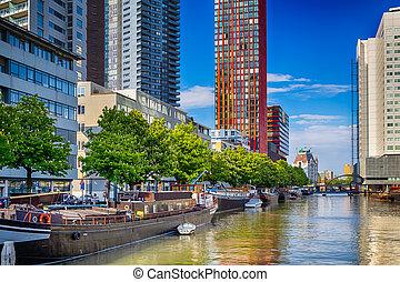 vaart, rotterdam, traveling., netherlands., bootjes, nederland, stad, aantrekkelijk, cityscape
