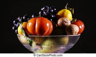 vaas, ronddraaien, fruit, fris