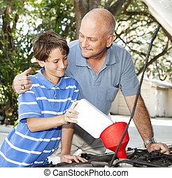 vader, auto, onderhoud, zoon