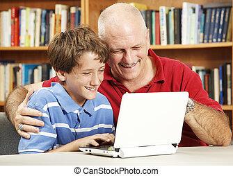 vader, computer, zoon, gebruiken, netbook