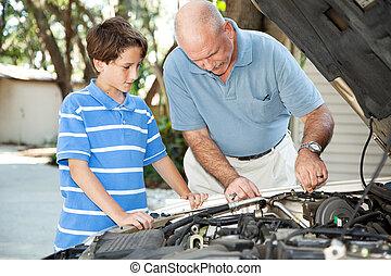 vader, onderhoud, zoon, auto