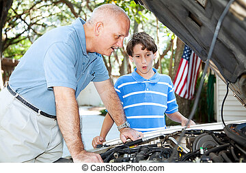 vader, onderwijs, herstelling, zoon, auto