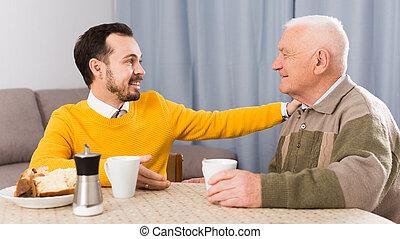 vader, ontbijt, bejaarden, zoon