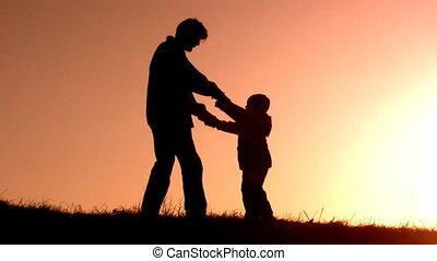 vader, roteren, ondergaande zon , zoon