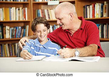 vader, zoon, bibliotheek