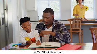 vader, zoon, huiswerk, thuis, aanzicht, 4k, zijn, black , voorkant, portie, comfortabel