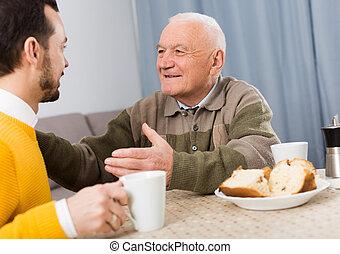 vader, zoon, ontbijt, bejaarden
