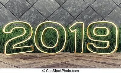 vakantie, goud, houten, dekking, year., illustratie, 2019, achtergrond., grass., ontwerp, getallen, nieuw, modieus, groene, 2019., 3d, vrolijke