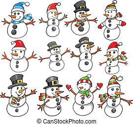 vakantie, kerstmis, sneeuwpop, winter