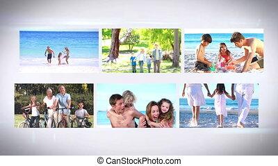 vakantie, montage, familys