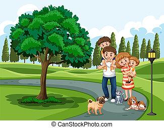 vakantie, park, gezin, bezoeken