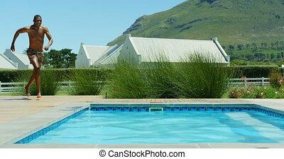 vakantiepark, springt, 4k, black , pool, zwemmen, man, jonge