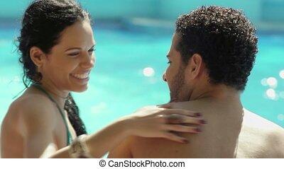vakantiepark, vrouw, jonge man