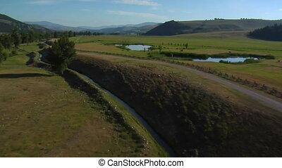 vallei, luchtopnames, meren, schoten, vee