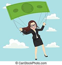 valscherm, businesswoman, bankbiljet