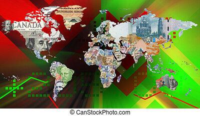 valuta, achtergrond, wereldkaart