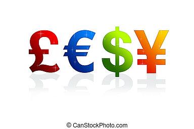 valuta, tekens & borden