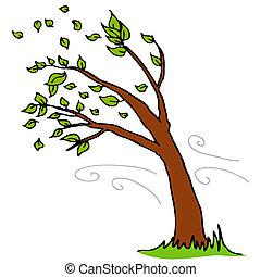 van, bladeren, blazen, boompje, wind