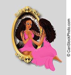 van een vrouw, reflectie, roze