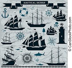 varende schepen, set, elements., ontwerp, nautisch
