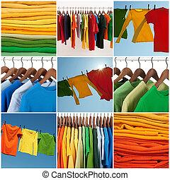 variëteit, kleding, ongedwongen, veelkleurig