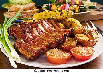 varkensvlees, groentes, grilled, ribben