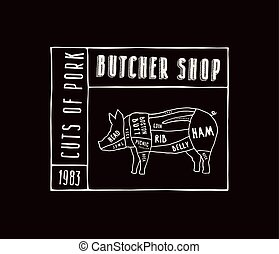 varkensvlees, sneeen, met de hand gemaakt, stijl, diagram, vector, grafiek, liggen