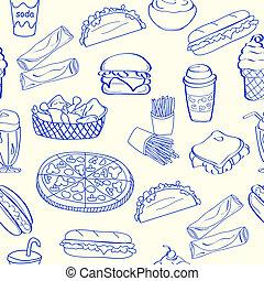 vasten, pictogram, set, seamless, voedingsmiddelen