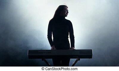vasten, smoke., muziek, piano., studio, meisje, elektronisch, spelend