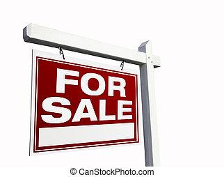 vastgoed, verkoop teken, wit rood