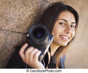 vasthouden, fotograaf, jonge, hardloop, volwassene, vrouwlijk, gemengd, fototoestel