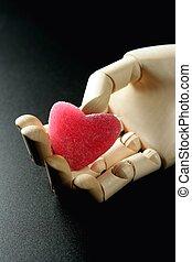 vasthouden, hart, houten, paspop, gelei, rood, vorm